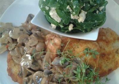 Chicken Schnitzel, Spinach Salad and Mushroom Sauce