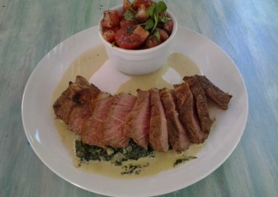 Grilled Steak, Creamed Spinach, Tomato Salad