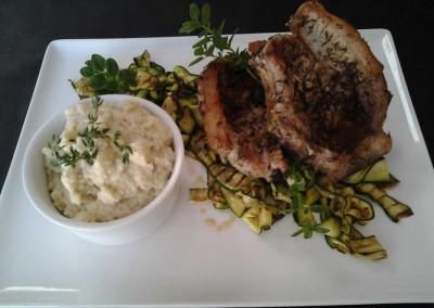 Pork Chops, Courgette Riboons, Cauli Mash