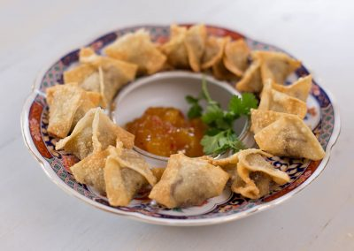 Duck Wontons with Mango Chutney
