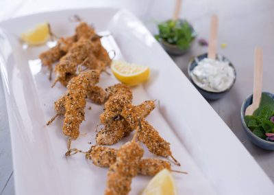 Middle Eastern Dukkah dipped Chicken Kebabs