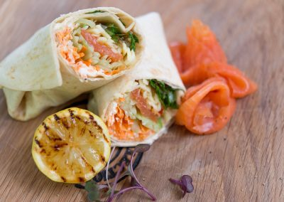 Mini Wraps Smoked Salmon, Rocket and Cream Cheese