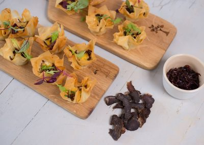 Phyllo Cups Biltong and Balsamic Red Onion