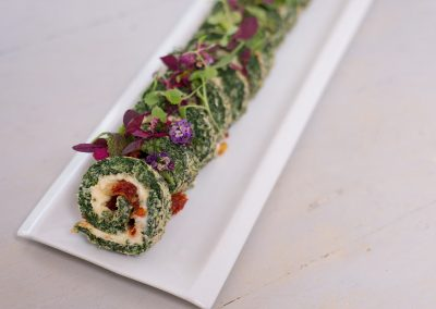 Spinach Roulade with Mozarella and Sundried Tomato